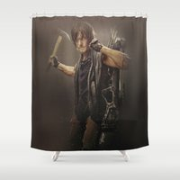 daryl dixon Shower Curtains featuring Daryl Dixon - TWD by Annabelle Pickering