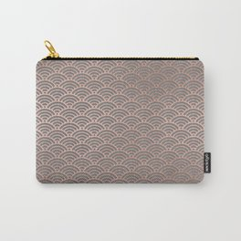 Rose gold mermaid pattern-on gray background Carry-All Pouch