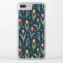 tulips on a rich navy background Clear iPhone Case