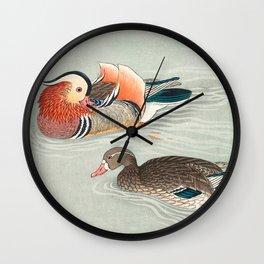 Ohara Koson, Couple Of Ducks Swimming In Lake - Vintage Japanese Woodblock Print Wall Clock