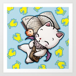 Moogle and chocobo Art Print