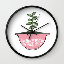 Jade Plant in Pyrex Wall Clock