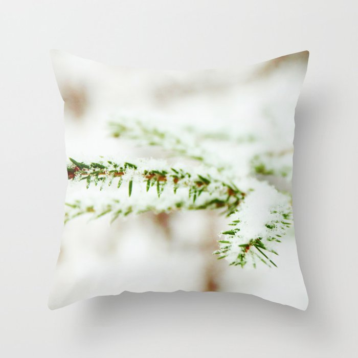 Spruce branch with snow veil Throw Pillow