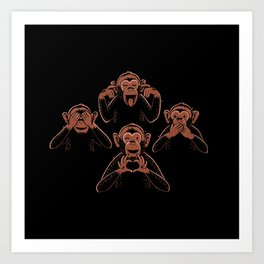 Three Wise Monkey And One Lover Art Print