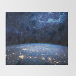 Earth and Galaxy Throw Blanket