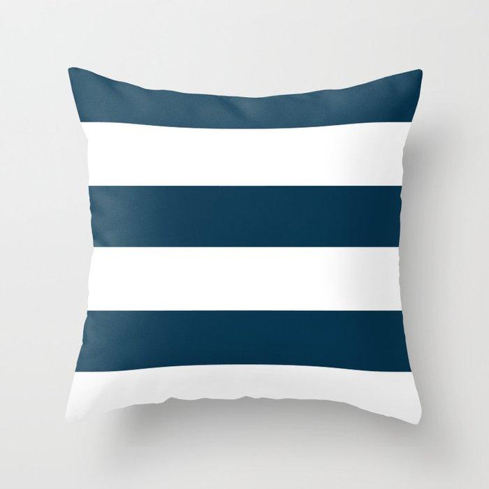 Navy Ocean Cabana Stripes Throw Pillow
