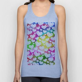 Rainbow Watercolor Hearts Unisex Tank Top