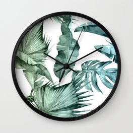 Tropical Palm Leaves Turquoise Green Blue Gradient Wall Clock