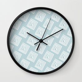 Simple white pattern on a gray-blue light background. Wall Clock