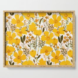 Yellow roaming wildflowers Serving Tray