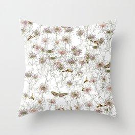 Moths on Bee Balm Throw Pillow