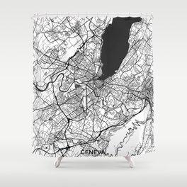Geneva Map Gray Shower Curtain