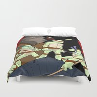 tmnt Duvet Covers featuring TMNT by SquidInkDesigns