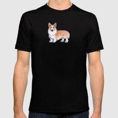 Corgi dog Mens Fitted Tee MEDIUM Black