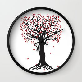 black tree with red leaves Wall Clock