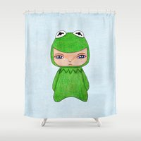 muppet Shower Curtains featuring A Boy - Kermit the frog by Christophe Chiozzi