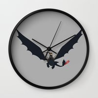 hiccup Wall Clocks featuring Hiccup & Toothless by carolam