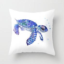 Cute Blue Baby Sea Turtle. children illustration, turtle art Throw Pillow