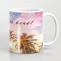 postcard Mugs featuring Beach Postcard by Darcy Lynn Designs
