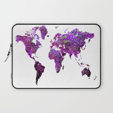 Purple World Map  Laptop Sleeve