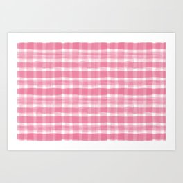 Watercolor Brushstroke Plaid Pattern Pantone Hot Pink 17-1937 Art Print