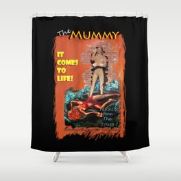 Woman in the red dress meets The Mummy Shower Curtain
