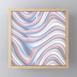 Rose Quartz Pink Serenity 3D Blue Waves Pattern Framed Mini Art Print