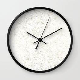 Elegant simple modern faux gold white floral Wall Clock