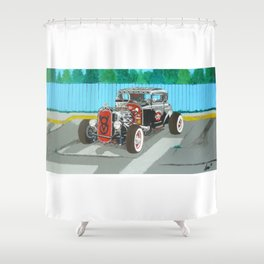 back and red hotrod Shower Curtain