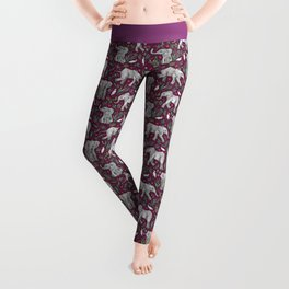 Baby Elephants and Egrets in Watercolor - burgundy red Leggings