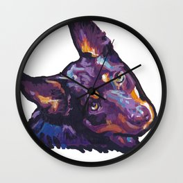 Fun Australian Kelpie Dog Portrait bright colorful Pop Art by LEA Wall Clock