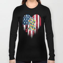Patriotic Autism American Flag Heart Long Sleeve T-shirt