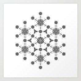 molecule. alien crop circle. flower of life and celtic patterns Art Print