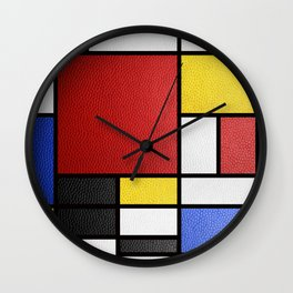 Mondrian in a Leather-Style Wall Clock