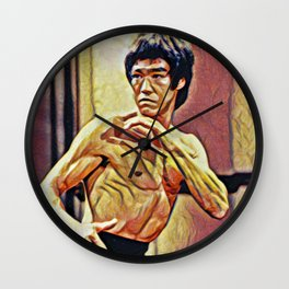 Bruce Fighting Artistic Illustration Red Dragon Style Wall Clock