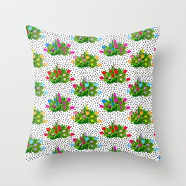 Tulip Bouquets in Black + White Dots Throw Pillow