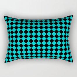 Black and Cyan Diamonds Rectangular Pillow