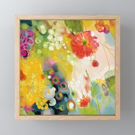 abstract floral art in yellow green and rose magenta colors Framed Mini Art Print
