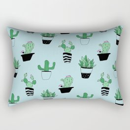 Blue/Green Plant Print Rectangular Pillow