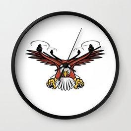 Half Eagle Half Drone Swooping Mascot Wall Clock