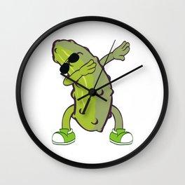 Dabbing Cucumber Dab Swag Swagger T-shirt Design Pickle Lover Sunglasses Vegan Vegetarian Diet Wall Clock