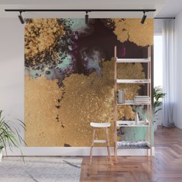 Abstract Pour Painting Liquid Marble Black Pastel Blue Painting Gold Accent Wall Mural