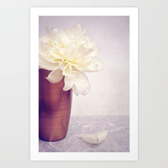PEONY LOVE - Still life with vase and white peony Art Print