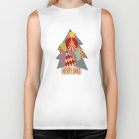 blankets Biker Tanks featuring christmas tree MINIMALIST by Chicca Besso