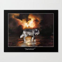 """Survivor"" Grey Wolf Fire Flames Canvas Print"