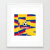 colombia Framed Art Prints featuring Colombia Football by mailboxdisco