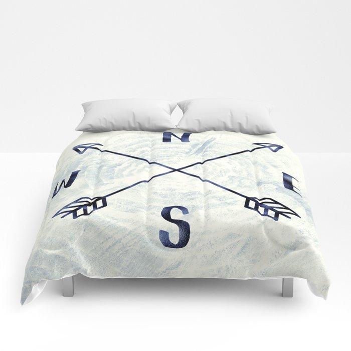 Compass in Navy Blue Comforters