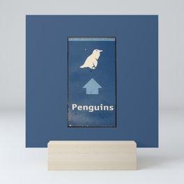 Penguins Illustration Signpost Cape Town, South Africa Mini Art Print