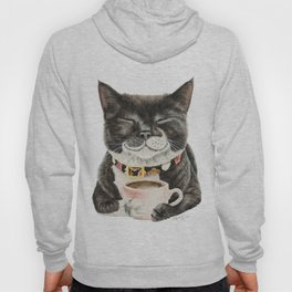 Purrfect Morning , cat with her coffee cup Hoody