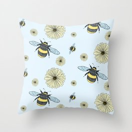 Bumble Bees and Flowers Throw Pillow